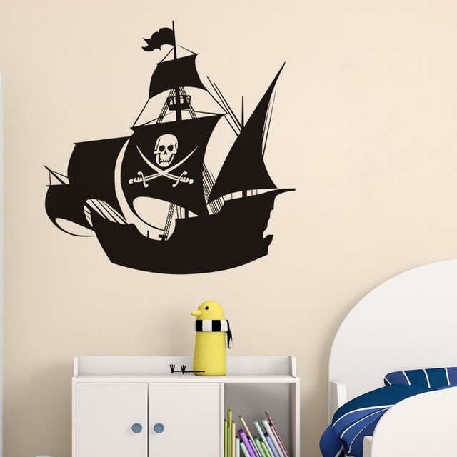 Skull Pirate Ship Wall Stickers Pirates Of The Caribbean Wall Decal  Removable Vinyl Sticker Kids Room