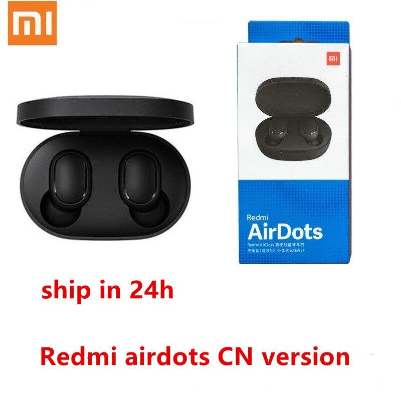 100% original Xiaomi Redmi Airdots TWS estéreo Bluetooth 5.0 fone de Ouvido fone de ouvido hands-free Mic fones de ouvido controle de voz AI