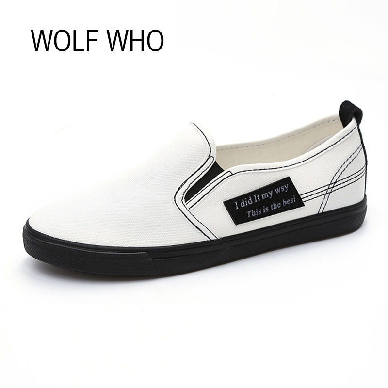 WOLF WHO Women Canvas Shoes Female Slipony Slipon Casual Fashion Krasovki Adult Ladies Tenis Feminino Chaussure Femme H-119 long designer women wallets new female hollow out wallet money bag lady card coin purse carteras cuzdan bolsa feminina