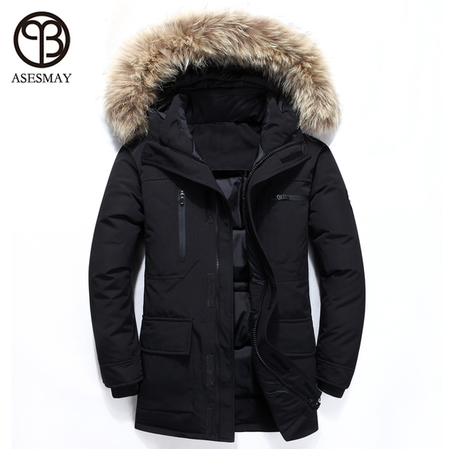 Asesmay 2018 Men Down Jacket White Duck Down Coats Thick Warm Parkas Male Casual Winter Jackets Hoodies Fur Goose Feather Coat