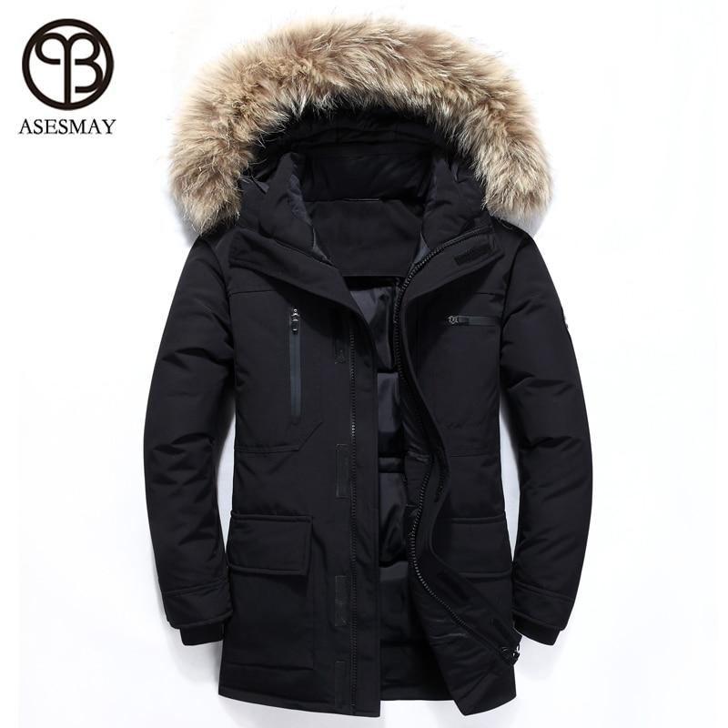 Asesmay 2018 hommes doudoune blanc canard vers le bas manteaux épais chaud Parkas mâle décontracté hiver vestes à capuche fourrure d'oie plume manteau