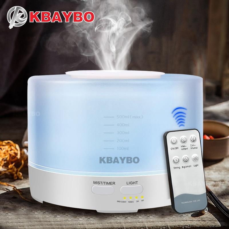 500 ml KBAYBO Controle Remoto Umidificador Aromaterapia Aroma do Óleo Essencial Difusor Com 7 Cor Luzes LED
