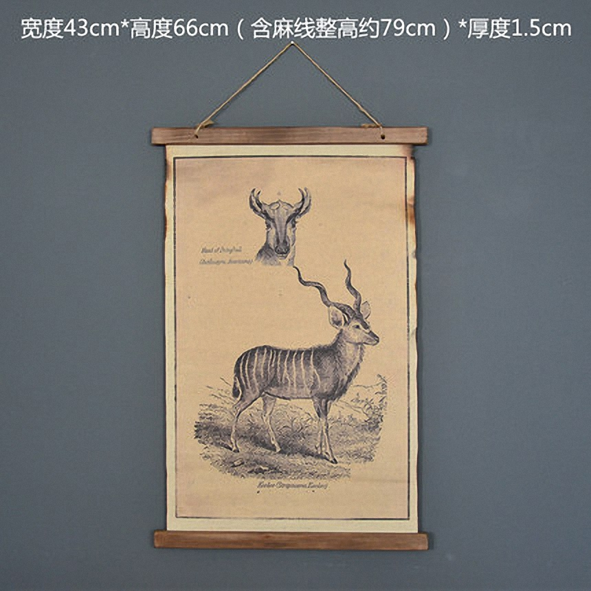 Large Retro Deer Linen Cloth Painting Scrolls Poster Mural Paintings Banners Hanging Art Office Loft Ornament Wall