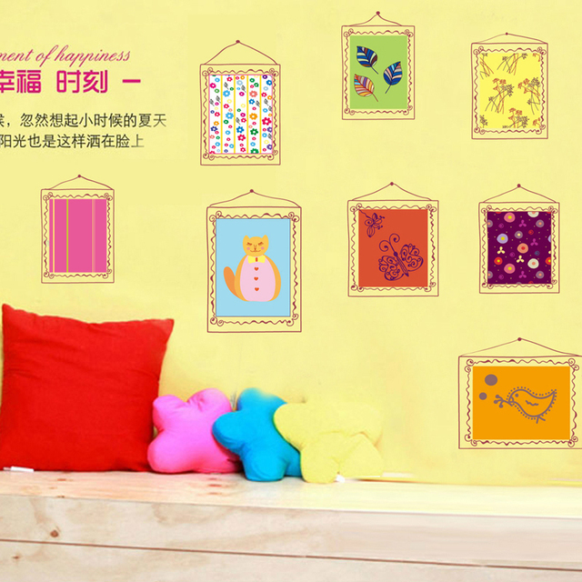 1pcs Cartoon Photo Frame Bedroom Temporary Wall Sticker Mural Poster ...