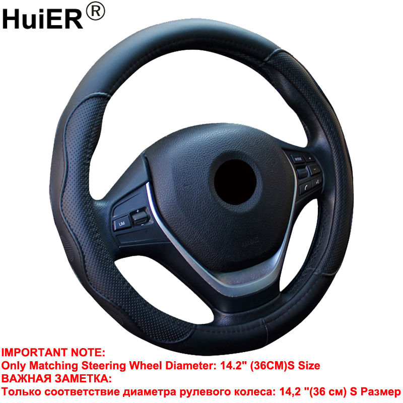 HuiER Auto Car Steering-wheel Cover Only Fit For 36CM/14.2/S Size Steering Wheel Anti-slip PU Leather Car Styling Free Shipping