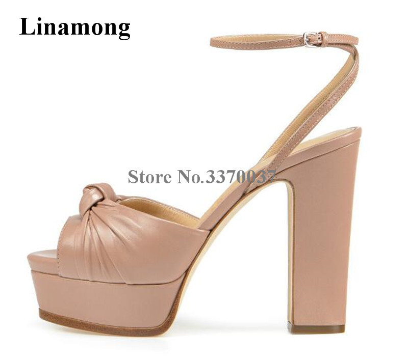 Summer New Fashion Women Open Toe Silver Leather Knotted Platform Sandals Ankle Strap Thick High Heel Sandals Dress Shoes new design women fashion open toe patent leather ankle strap high heel sandals one strap dress sandals sexy dress shoes