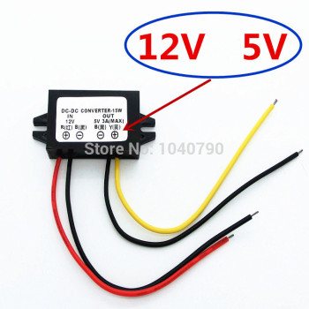 Regulador de voltaje de 12V a 5V, fuente de alimentación de coche, convertidor, estabilizador de voltaje Dc-DC 1