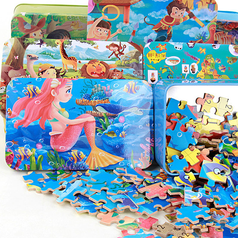 Παιχνίδια για παιδιά 100pcs cartoon παζλ σίδερο κουτί ξύλινα παιχνίδια παζλ παιδιά αρχική εκπαίδευση ξύλινο παιχνίδι juguetes εκπαιδευτικά