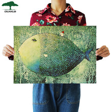 Dlkklb Big Fish Small House Kraft Paper Poster Children Bedroom Adornment Frameless Retro Vintage Poster Wall Sticker(China)