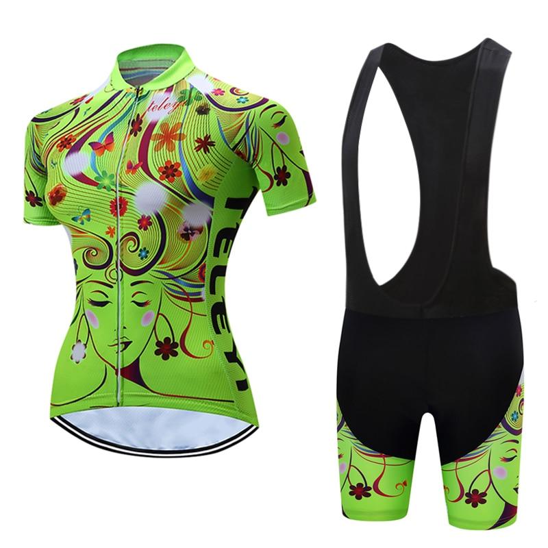 2017 Women Racing Bike Jersey Kits Female Shirts Bib Shorts Sets MTB Maillot Cycling Lady Riding Equipment Bicycle Uniform Wear
