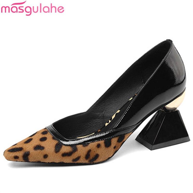 Masgulahe Pumps Women Shoes Square Toe High-Heels Horsehair Hot-Sale