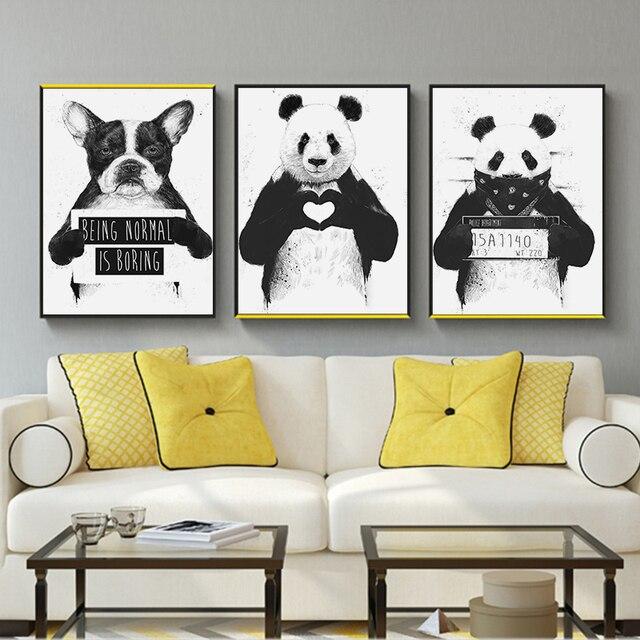 Панда собака животных печати стены книги по искусству плакат черный и белый холст картины на стену в стиле модерн Детская комната украшения