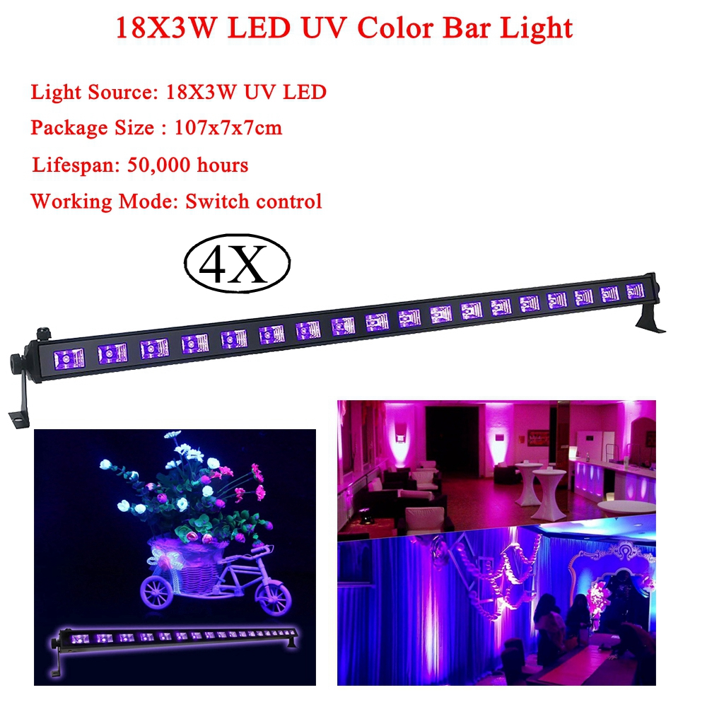 NEW DJ Equipment 18X3W LED UV Color Bar Light UV Stage Light Violet Led Bar Laser Projection Lighting Party Club Disco Light led uv color bar wall washer light 8x3w bar laser projection lighting party club disco light for christmas indoor stage lights