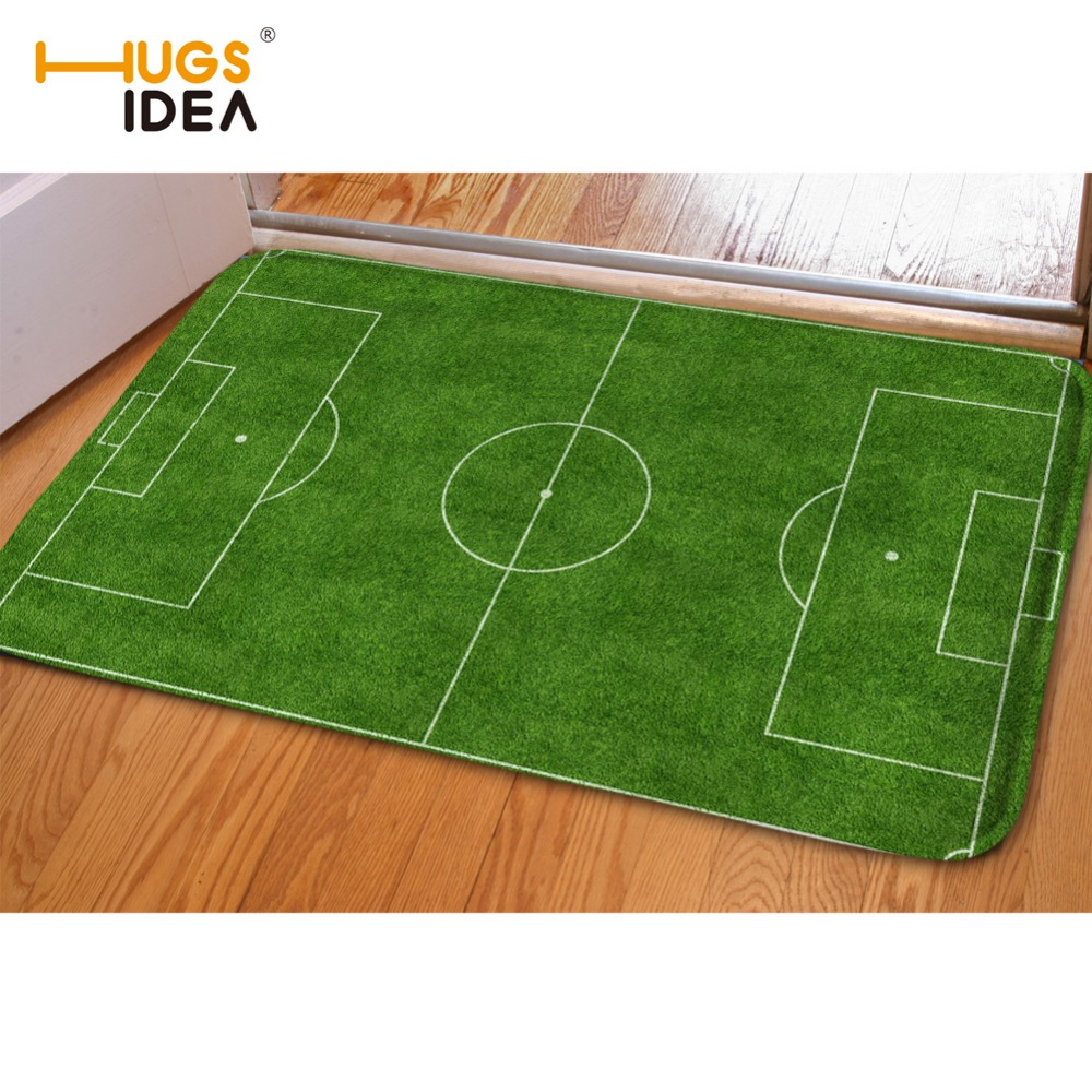 HUGSIDEA Carpets Tapetes Creative Football Field Print Front Entrance Door Floor Mat Doormat Bape Carpet for Bath Kitchen Toilet