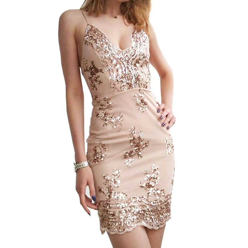 203432a307b2 Sexy Gold color Spaghetti Strap Open Back Sequins Bodycon Mini Dress Club  Wear Slip V Neck Sheath Dress