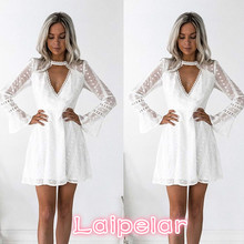 Women Sexy Deep V Neck Lace Clothes Flare Sleeve Laipelar