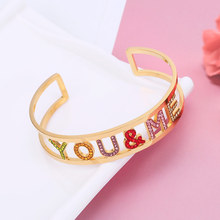Colorful Crystal Letter You & Me Bangle Gold Rose Steel Color Women Stainless Steel Bracelets & Bangles 2019 New Fashion Jewelry gold stainless steel you