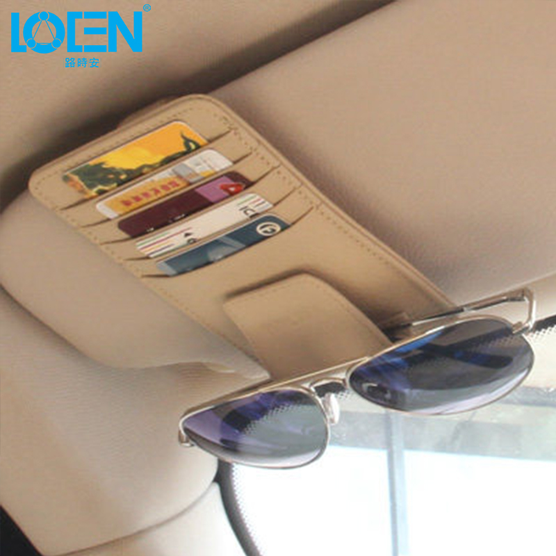 Sun Visor večnamenska usnja nosilec za avtomobilske kartice očala - Dodatki za notranjost avtomobila - Fotografija 2