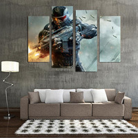 Hot 4 Panels Wall Sticker Printed Fine Game Gun Painting Canvas Print Room Decor Print Poster Picture Canvas Game Oil Paintings