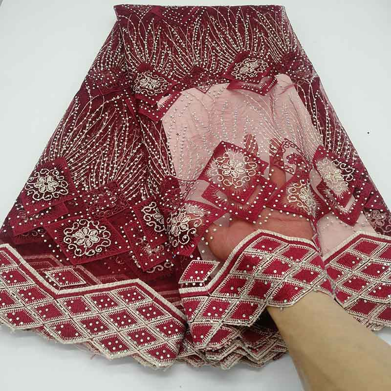 Wine Red Nigerian Lace Fabric 2019 African Swiss Voile Lace High Quality Guipure Embroidered French Tulle
