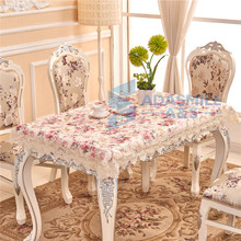 New Europen Wedding Banquet Event Tablecloth EmbroideredFlowerSatin Dinning Table Flag Handmade Embroidered