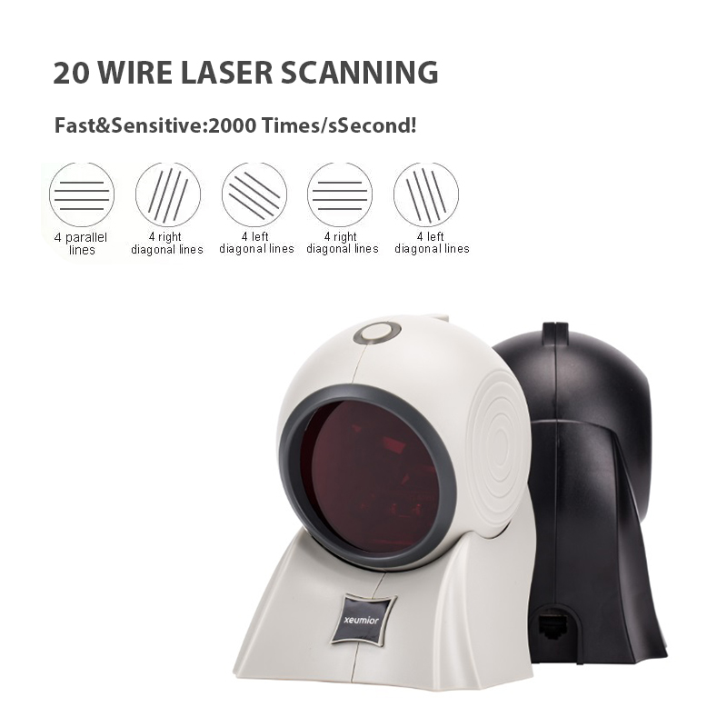 20 linee USB/RS232/PS2 Desktop Omnidirezionale 1D Laser Scanner di Codici A Barre POS Lettore di Codici A Barre per la Vendita Al Dettaglio/ supermercato - 2