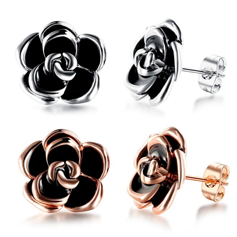 ROMAD Dripping Flower Earrings Women Black Rose Stud Earrings in Alloy Ladies Simple Cute ...