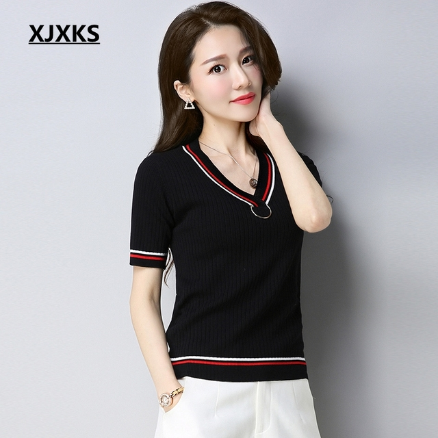 16a6e40d5d3b XJXKS New 2018 Striped Knitted Sweater Women Short Sleeved Slim V Collar  Linen Knit Thin Summer Pullover Sweaters
