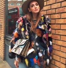 Star same design female beautiful colorful real fox fur jackets causal big size full sleeve natural fox fur coats garment