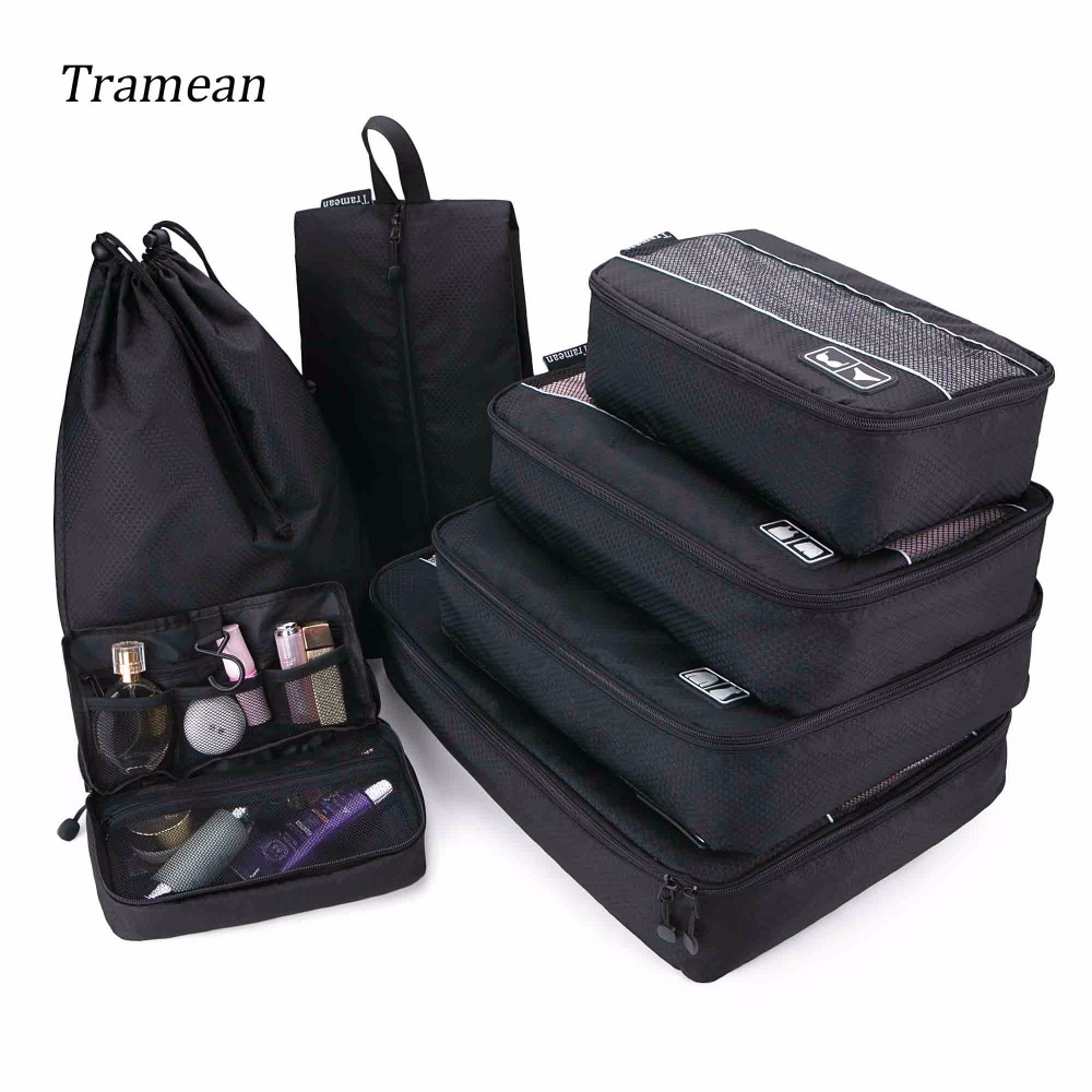 Travel Luggage Bag Travel Organizer Packing Cubes Set Breathable Mesh Waterproof Packing ...