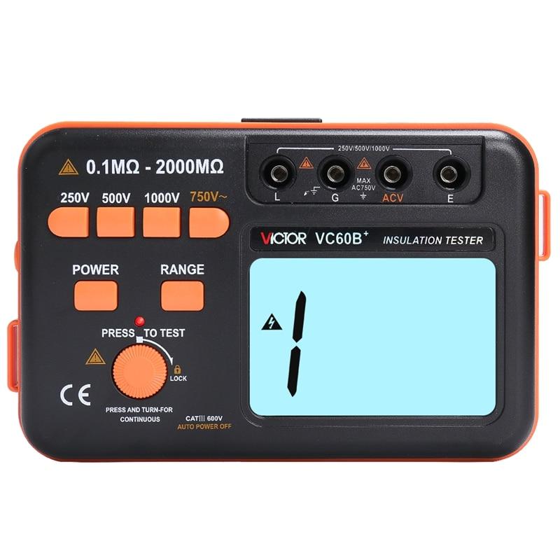 Victor vc60b + testador de resistência de isolamento digital megger megohm medidor dc/ac 0.1 o2000 m ohm 250 v/500 v/1000 v dc tensão alarme