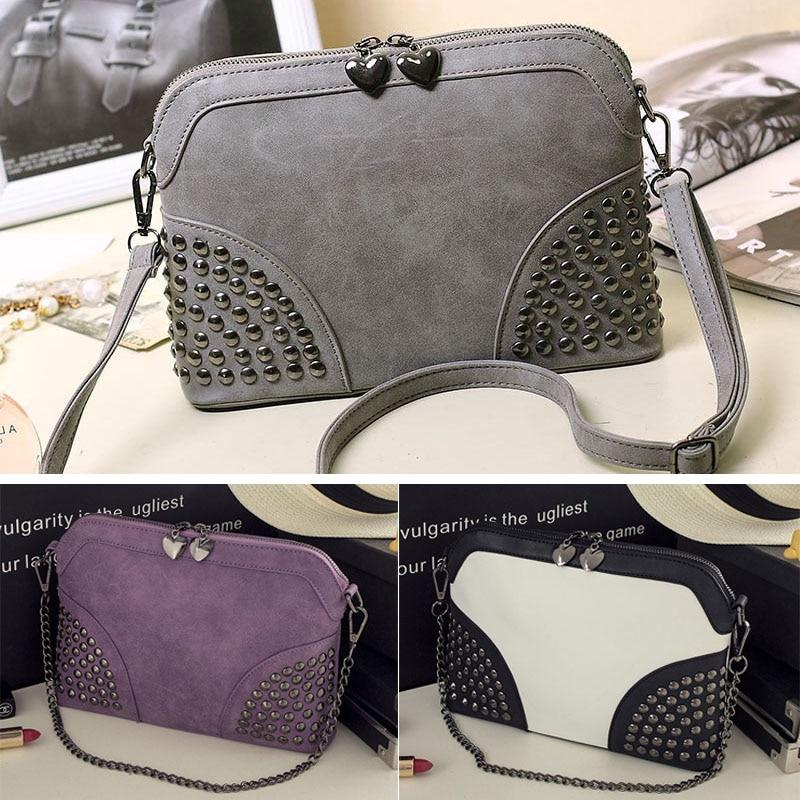 2019 Vintage Women Rivet Shoulder Bag Scrub Shell Messenger PU Leather Crossbody Chain Strap Clutch Bag AB@W Women Bag