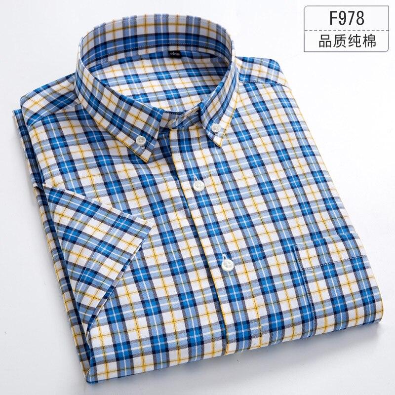 Plus Size 5XL 6XL 7XL 8XL Pure Solid Color  Plaid 100% Cotton Thin Short Sleeve Men Shirt Casual Fashion Fit Slim White Blue
