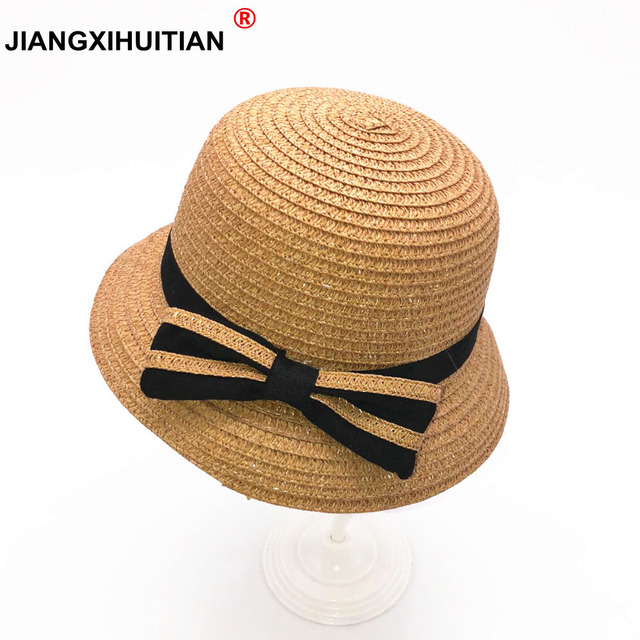 2018 New lovely Baby Straw Hat Summer Kids Fedora Hat Lovely Bow tie Beach Cap  Children Girl Boys gorro Panama Sun Hat casquette b8b3587b1dd