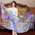 Moda pañuelo de Seda Bufanda de Marca de Lujo de Las Mujeres hijab foulard Bufanda del invierno Mujer Del Mantón de la Alta Calidad suave Larga pashmina del cabo