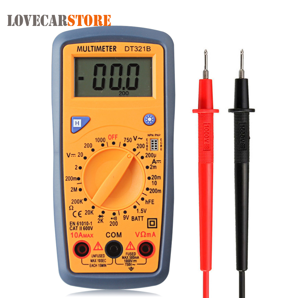 LCD Digital Small Multimeter AC / DC Volt Resitance Tetster Multi Meter with Backlight Data Hold Test Lead