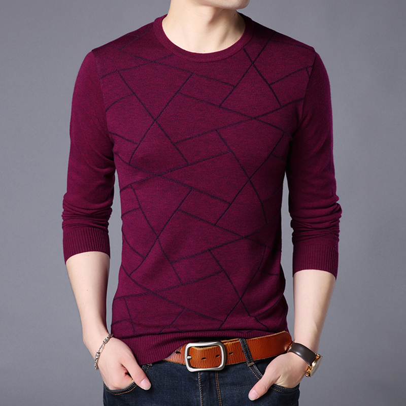 2019 New Fashion Brand Sweaters Mens Pullover O-Neck Slim Fit Jumpers Knitting Patterns Autumn Korean Style Casual Clothing Men