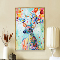 Fashion Colored Deer Full Round Diamond Painting Cross Stitch New Style Home Decor Needle Work Mosaic Paste