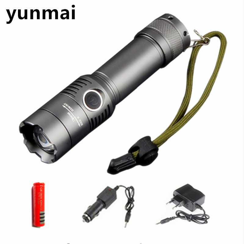 CREE XM-L T6 3800Lumens Torch Zoomable 3 Modes Tactical Flashlight Lanterna Lights For Rechargeable 3xAAA or 1x18650