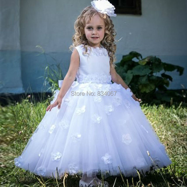 Vintage Flower Girl Dresses 2017 Ball Gown Ankle Length Formal Gowns For Wedding Party Designer