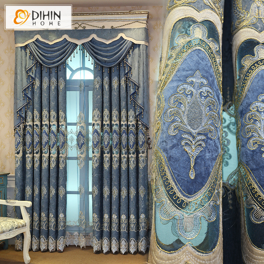 Luxury Blackout Curtains For Living Room Window Treatment Drapes Embroidered Valance