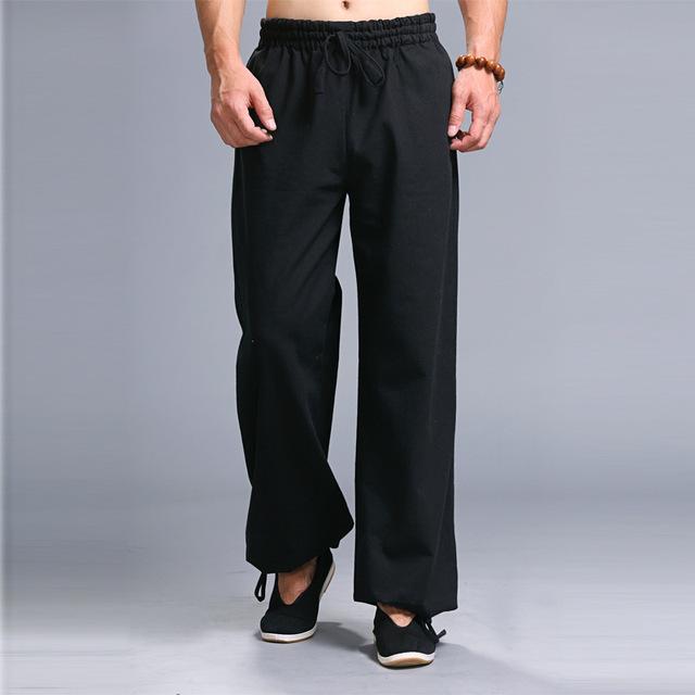 Verano de Los Hombres Pantalones Casuales 100% Algodón de Lino Cintura Elástica Hombres Pantalones Hombres Pantalones de Lino Inferior Recta K261