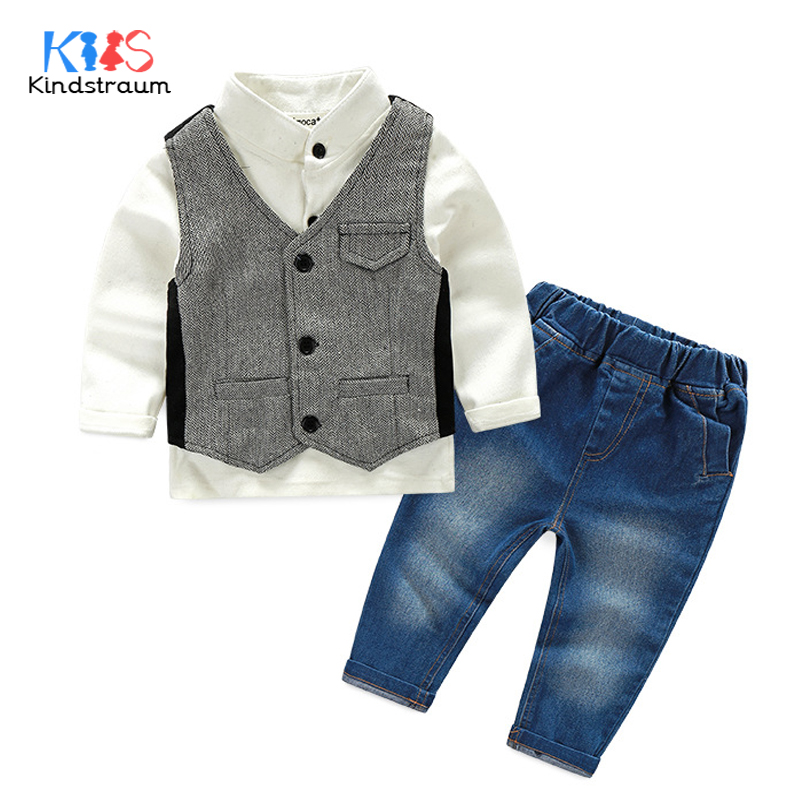 Kindstraum 3pcs Boys Gentleman Formal Suits Cotton Long Sleeve Shirt+Vest+Denim Pants Toddler Kids Wedding Clothing Sets, MC951 baby boy clothes suits vest plaid shirt pants 3pcs set party formal gentleman wedding long sleeve kid clothing set free shipping