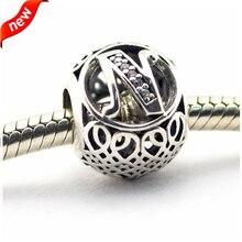 Für Pandora Armbänder Vintage N Silber Perlen mit Klaren CZ 100% 925 Sterling Silber Charms DIY Schmuck 08LE015-N