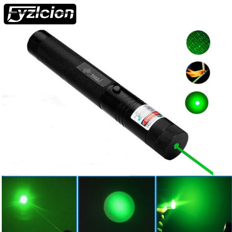Fyzlcion 5mw 303 Green 532nm Laser Pointer Pen Lazer Light Adjustable Focus Visible Beam