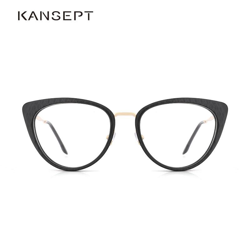 Acetate Women Glasses Frame Retro Ladies Cat Eye Glasses Grey Plaid New Arrival Myopia Eyeglasses Frame #9009