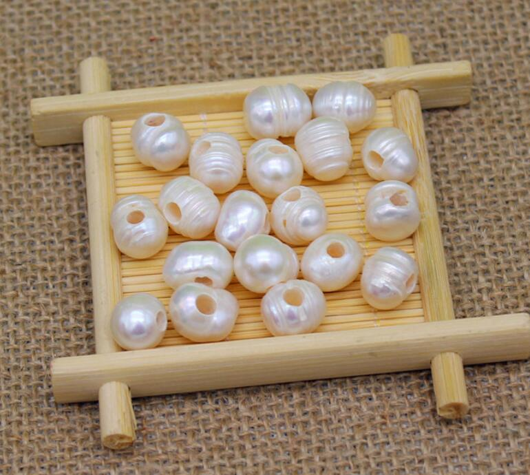 Beads & Jewelry Making 9-11mm Luster Natural Loose Rice Pearl With 2mm Large Half Hole,sold By Lot,jewelry Diy Craft Loose Beads Agreeable Sweetness