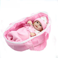 Hot 28cm Pink Baby Reborn Doll Toy Gift for Kids Child Girl Silicone Newborn Babies With A pillow, a quilt, small cloth bag