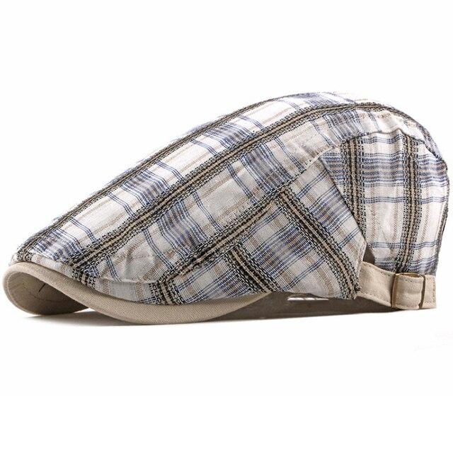 d4ddf419288 HT1836 Berets Hats for Men Women Plaid Ivy Newsboy Caps Unisex Adjustable  Cabbie Flat Caps Berets