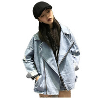 2018 Spring Autumn Women Bf Basic Denim Jacket Long Sleeve Loose Female Hole Jeans Coat Casual